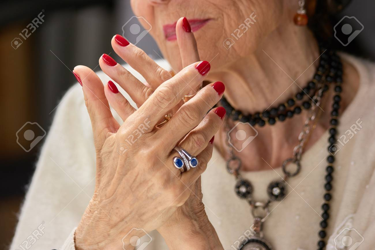 Old Womans Manicured Hands With Ring. Old Luxury Woman Beautiful ...