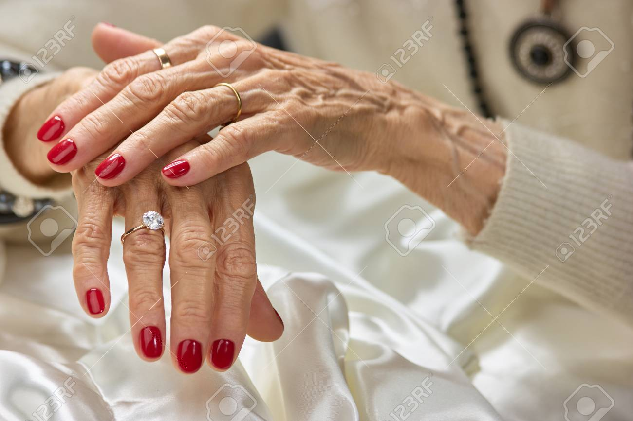 Old Woman Beautiful Hands With Rings. Female Aged Hands With.. Stock ...