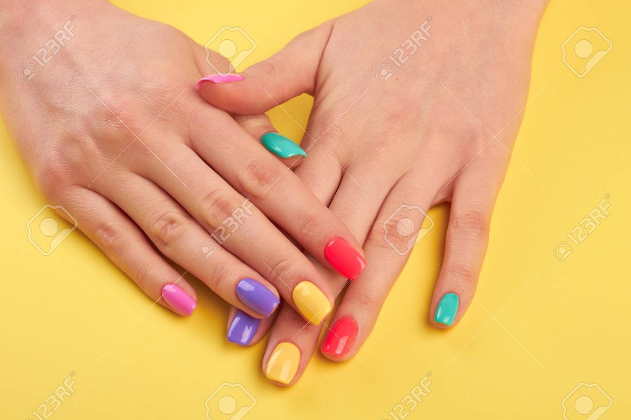 A colorful nail