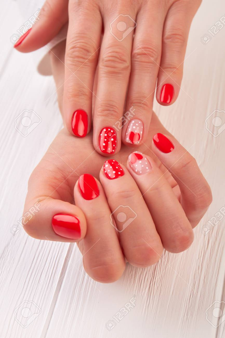 Valentine Holiday Nail Art Design. Female Hands With Beautiful ...