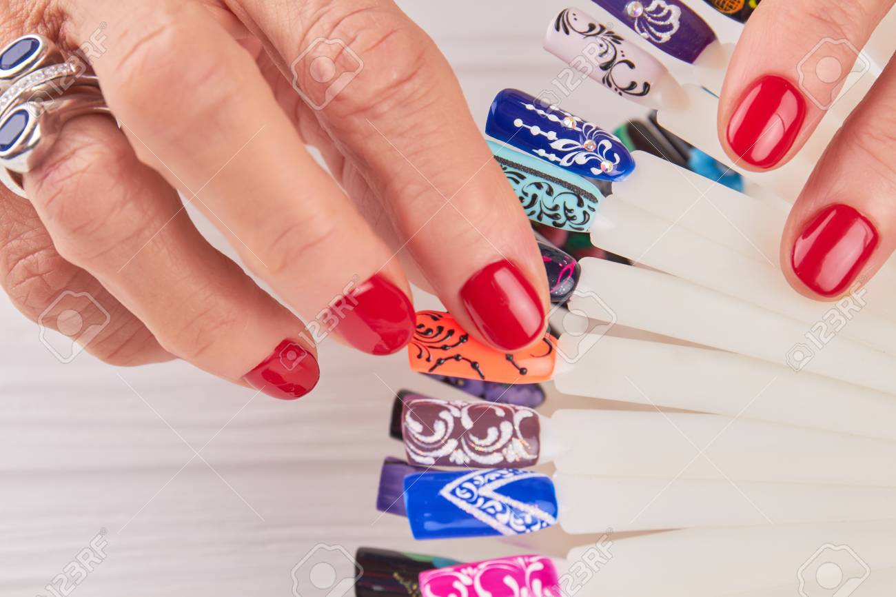 Manicured Hands, Nail Art Samples Close Up. Beautiful Female.. Stock ...