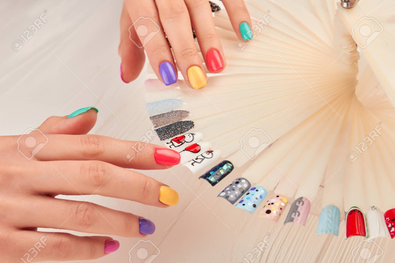Stylish Manicure And Nail Art Samples. Beautiful Hands With Pastel ...