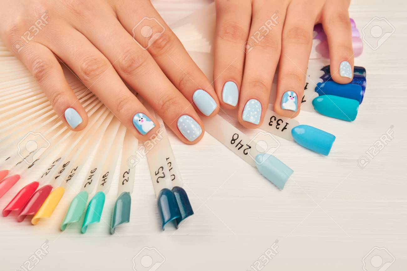 Manicured Hands And Nail Color Samples. Female Hands With Perfect ...