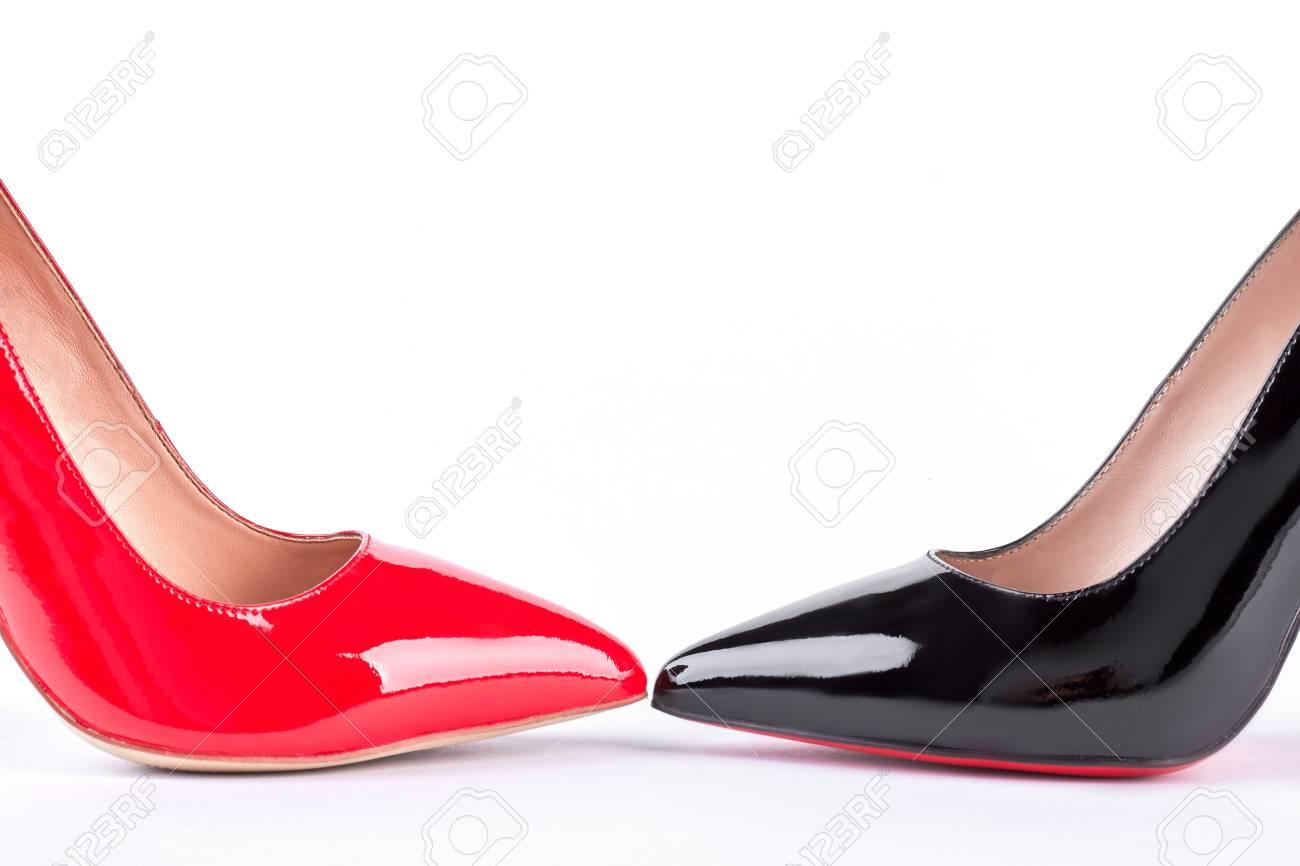 Black Classic High Heels. Modern Red
