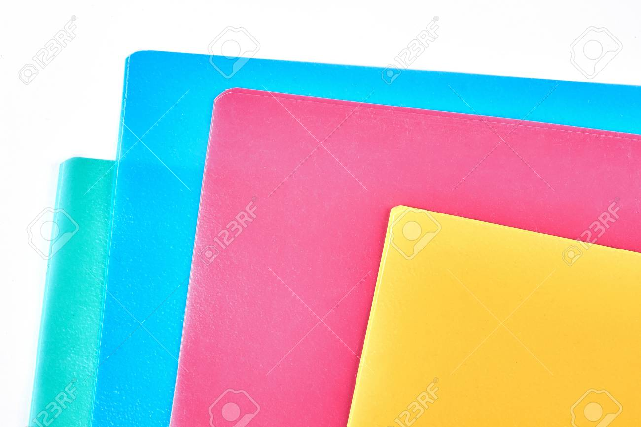 colored paper folders close up set of blank multicolored envelopes