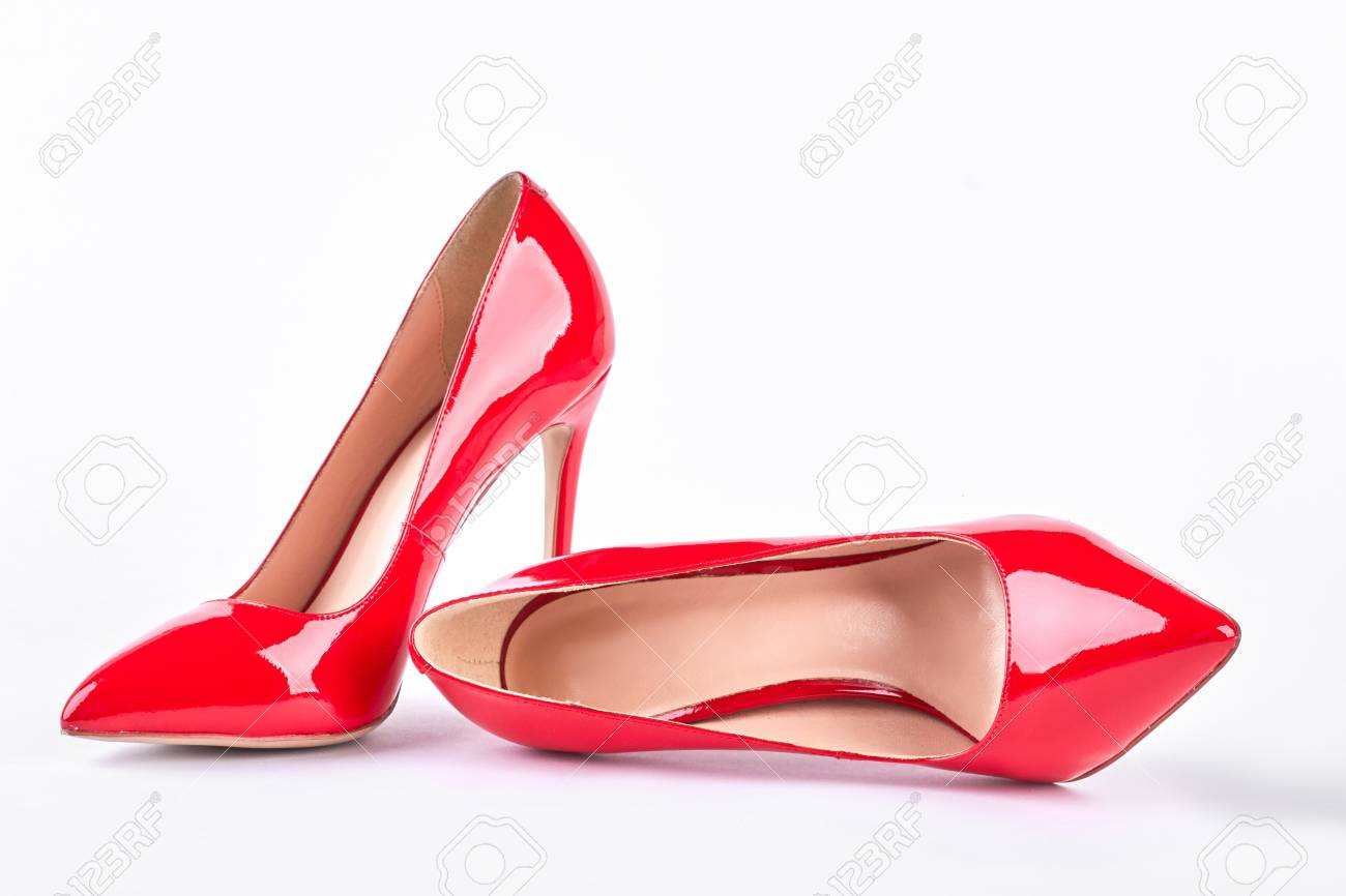 e6da5c181d4 Classic red shoes on high heels. Woman red elegant shoes on heels..