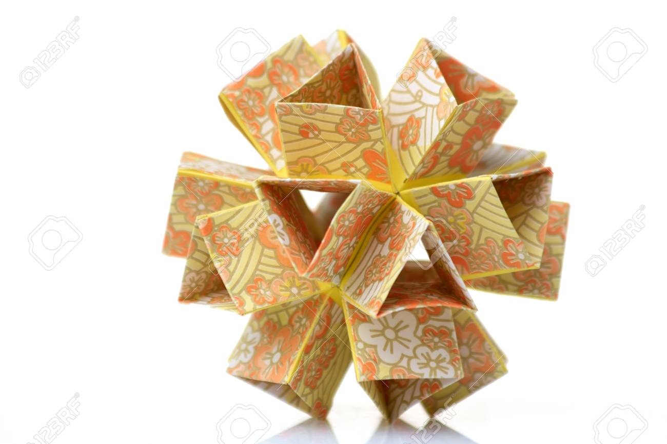Flower Modular Origami Complex And Perfect Geometrical Art Stock