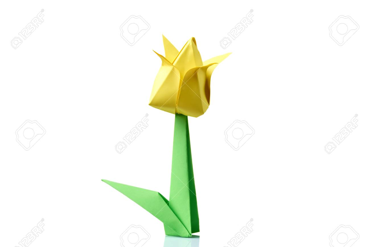 Yellow Tulip Origami Flower Traditional Model Of Bulb And Leaf