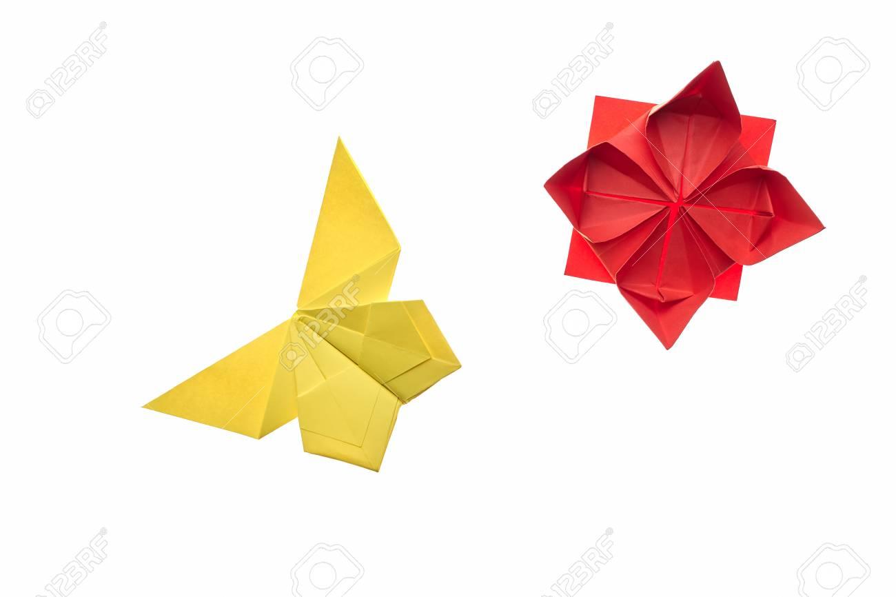 Mariposa Amarilla Y Flor Roja En Blanco. Modelos De Origami Simple ...