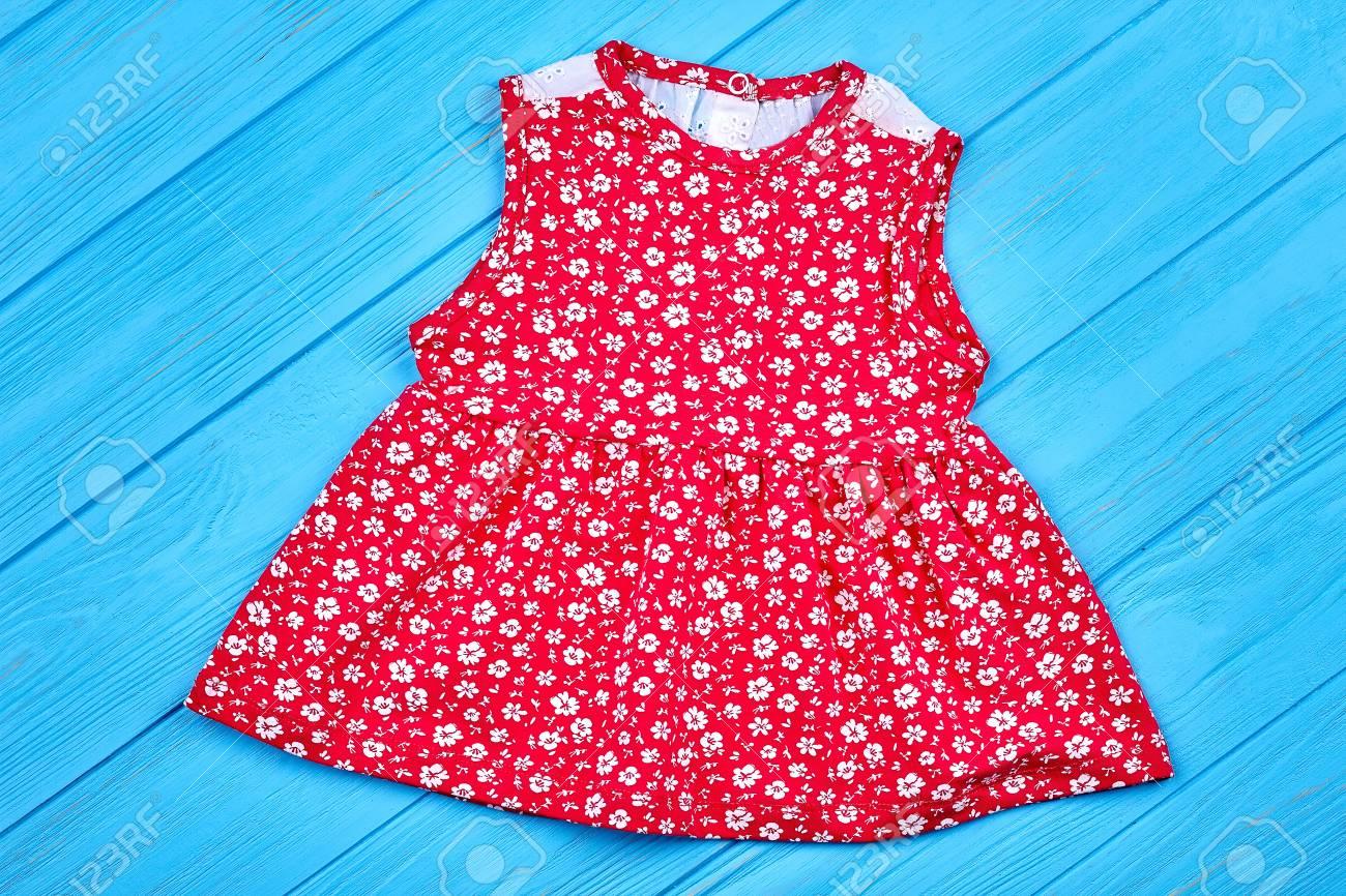 8adab28a6e19e Red cotton baby-girl summer dress. Beautiful infant girl dress..