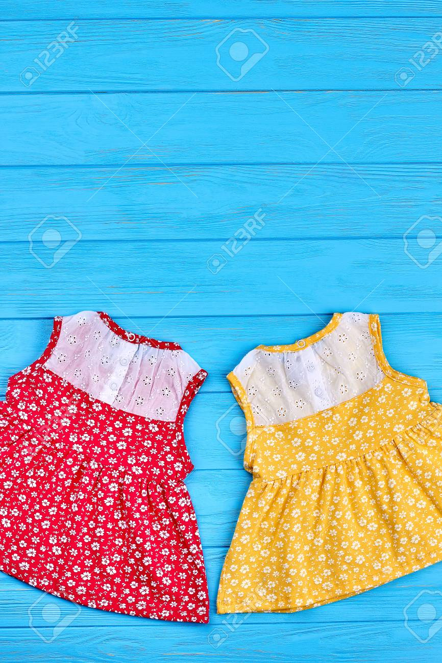 2f90ea140bf Stock Photo - Top view of beautiful baby vintage dresses. Summer cute baby  girls sundresses and copy space. Little girls summer fashion retro style.