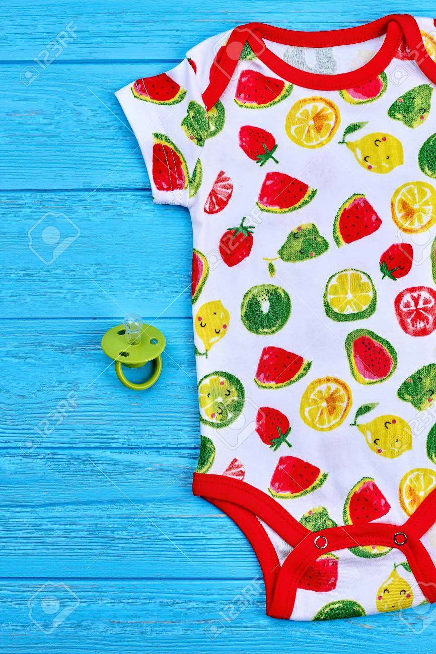 0e7e4bd9933 Cute fashionable cotton baby bodysuit. Fruit print organic summer romper  and pacifier for newborn baby