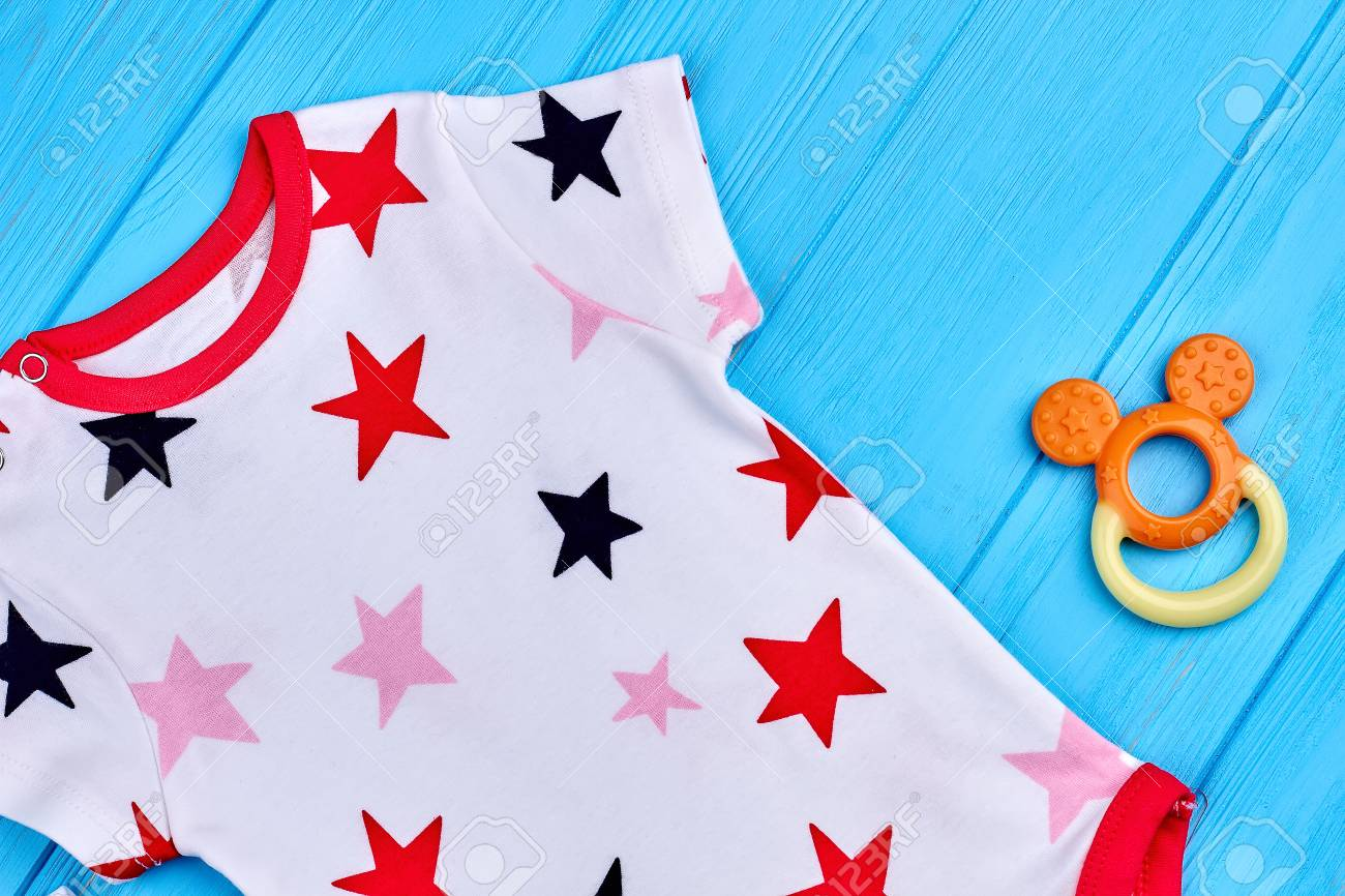 e23e056965b Close Up Of Star Print Baby Romper. Toddler Baby Fashion Design ...