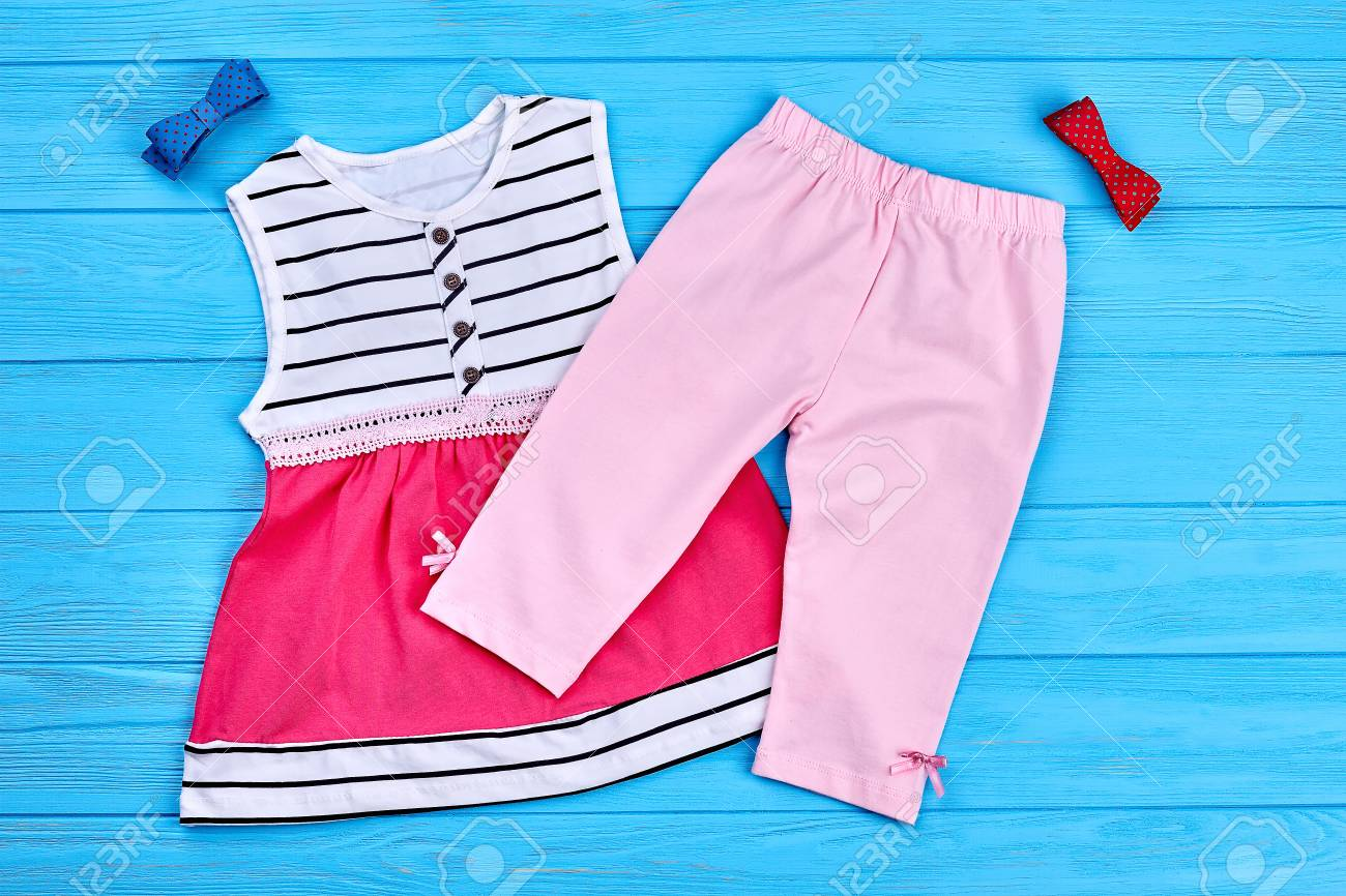 5502f06569d9e Kids Summer Fashion Background. Baby-girl Dress, Pants And Bow-tie ...