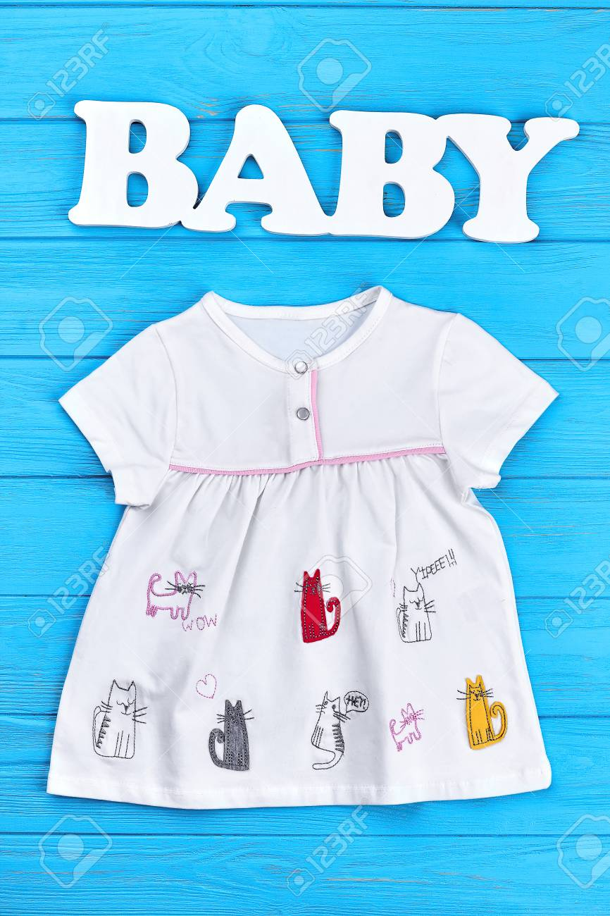 Baby Girl Summer Clothing Background Colored Cat Print Cotton Dress For Newborn And