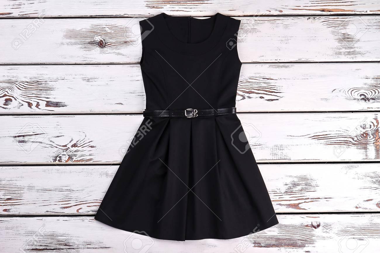 Black Sleeveles Short Cotton Dress. A