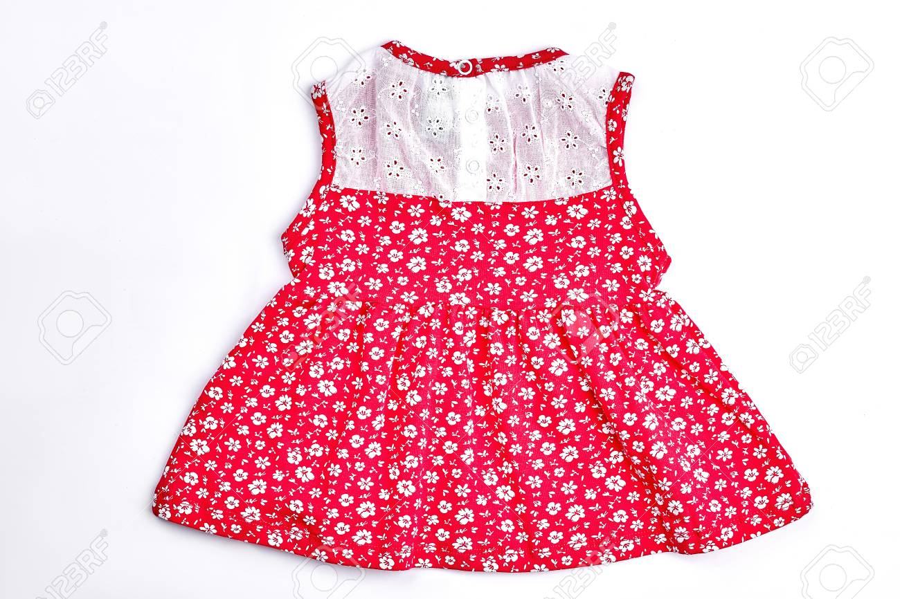 b546d12c73ccf Baby-girl white and red dress. Newborn baby-girl red patterned vintage dress