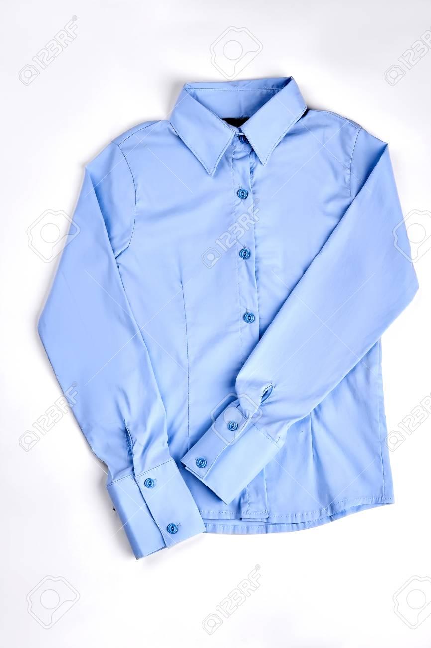 New High Quality Woman Shirt Girls Luxury Light Blue Buttoned