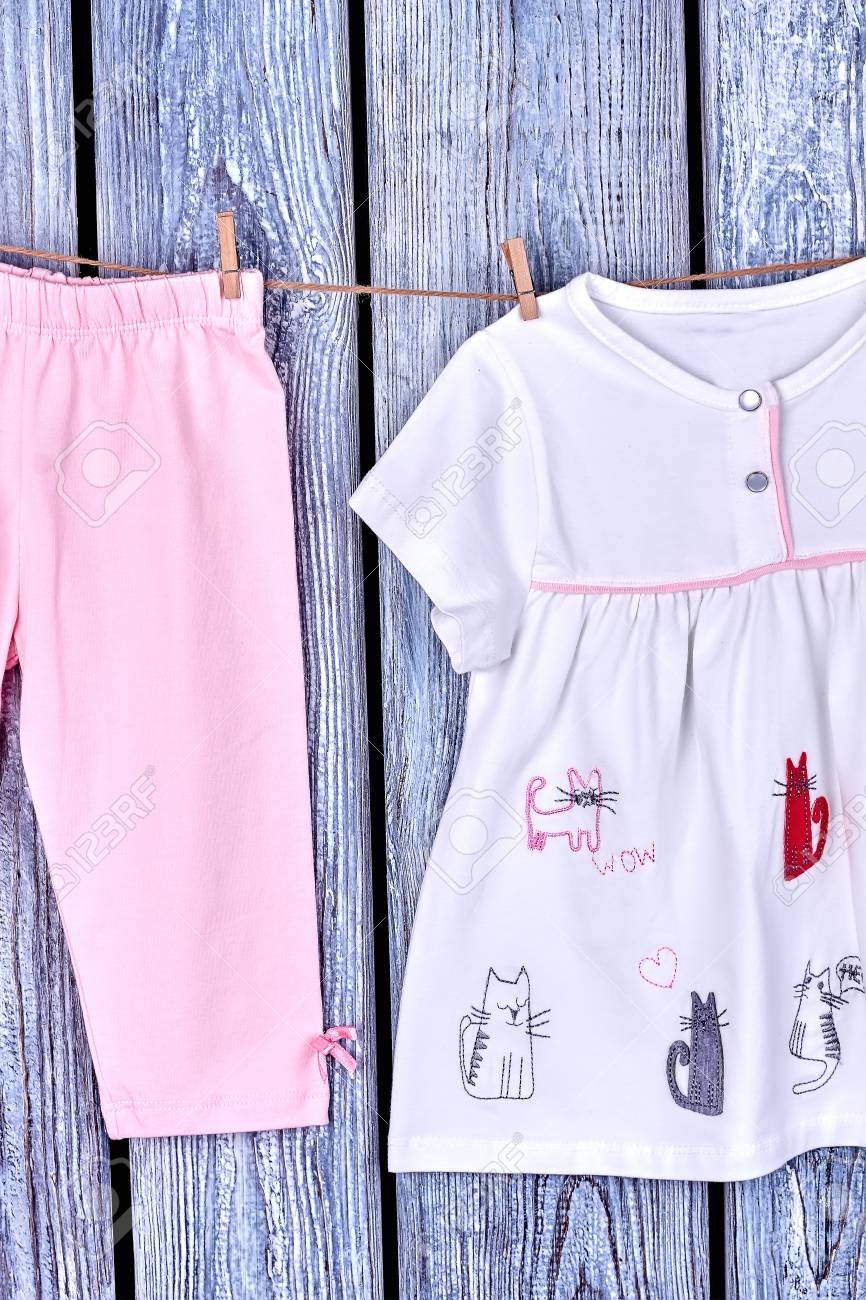 d9e931e36382 Baby-girl Apparel On Clothesline. Infant Girl Casual Garment.. Stock ...