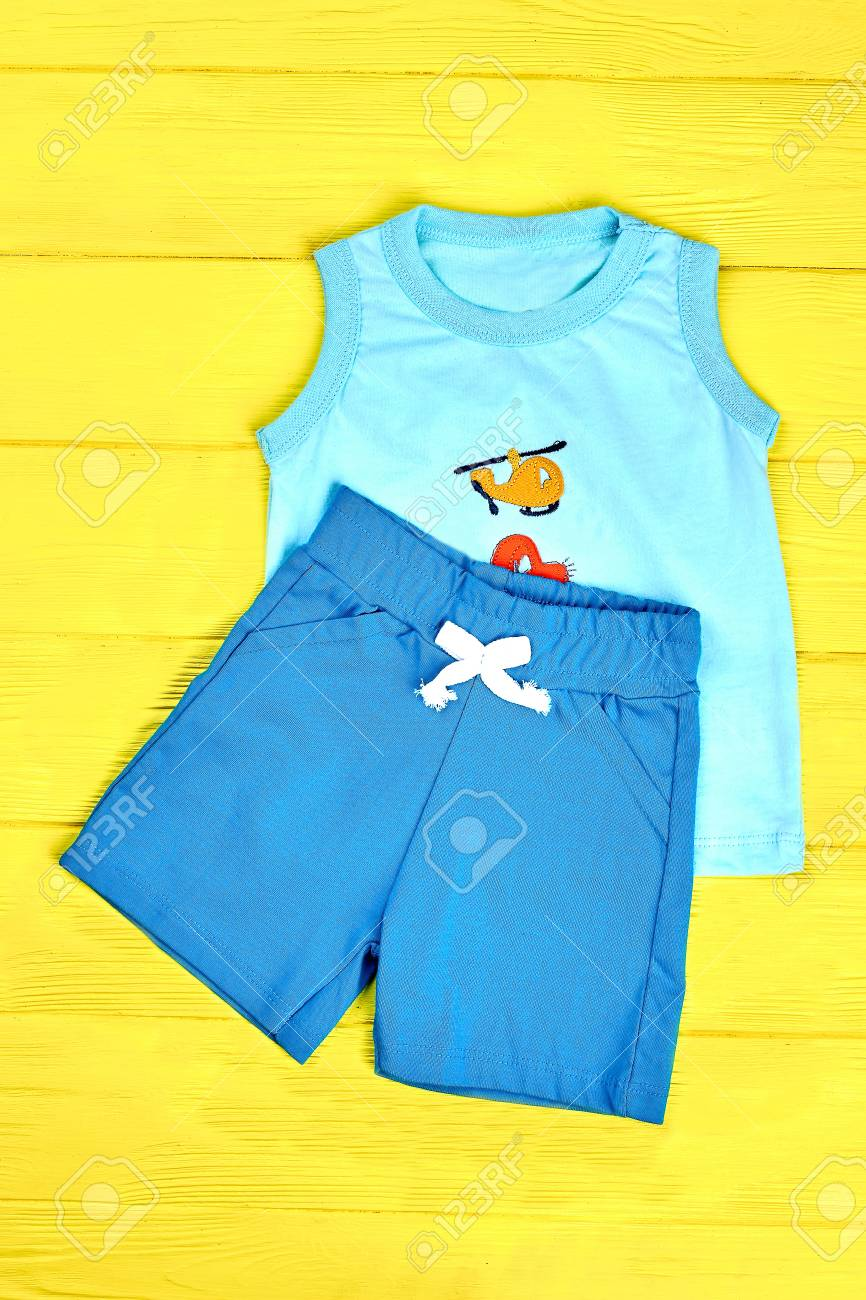 a51c0db85 Baby Boy Cute Cotton Suit. Toddler Boy Blue Shorts And Sleeveless ...
