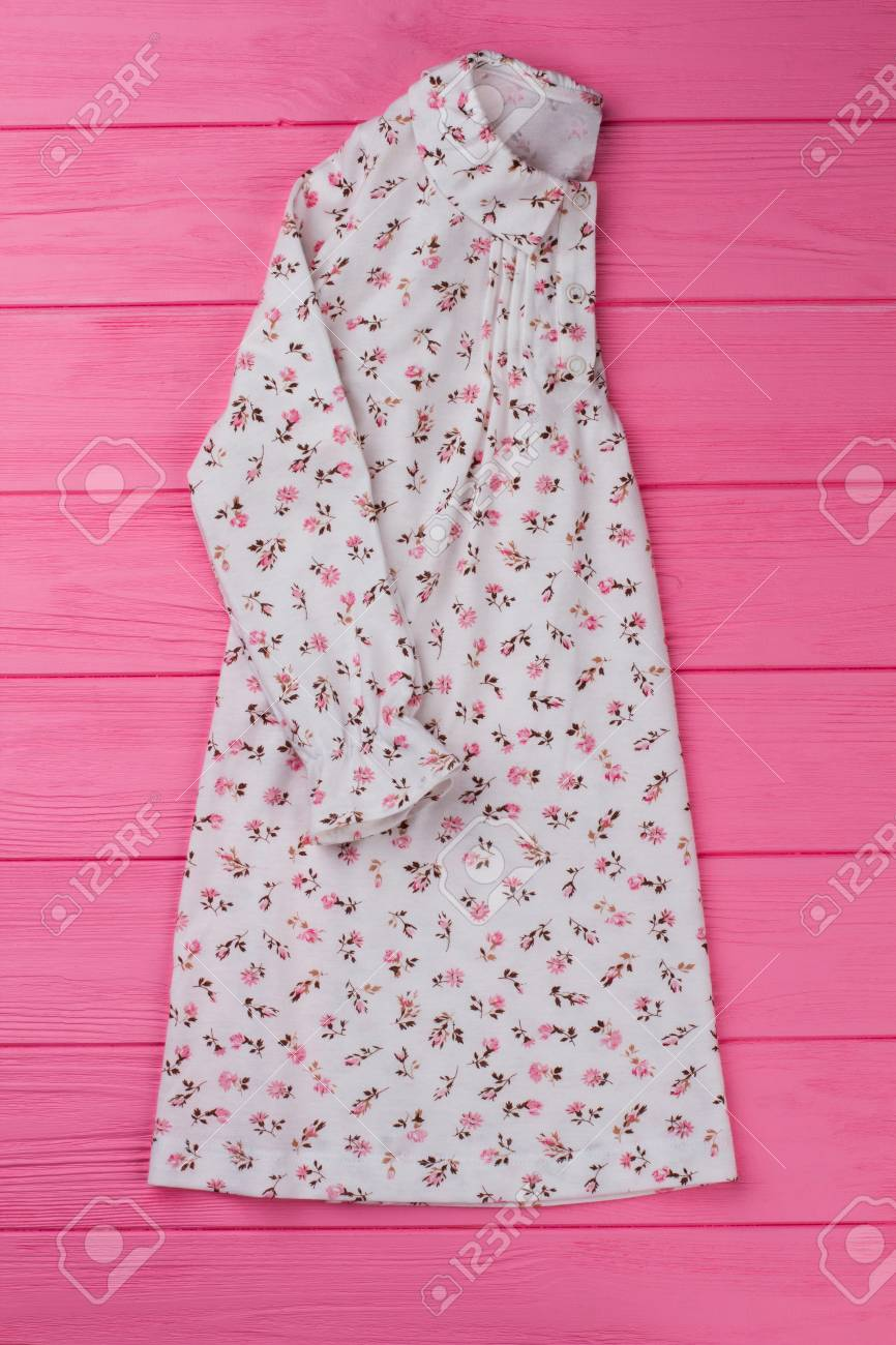 Cotton nightie with floral design. Ruffle cuffs and rounded collar.  Sleepwear collection item on 510164549