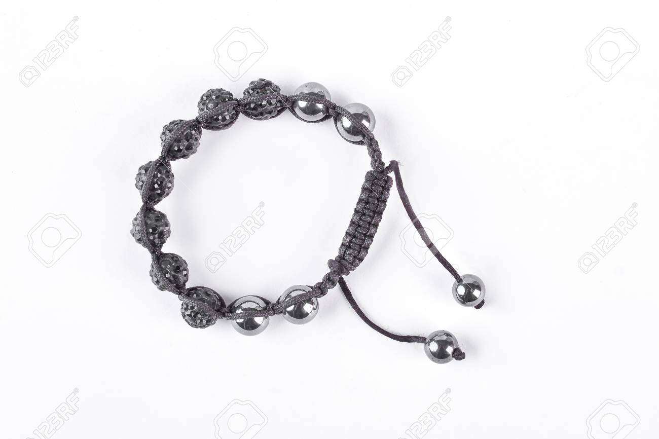 Shamballa Bracelet Isolated On White Background Buddhist Bracelet