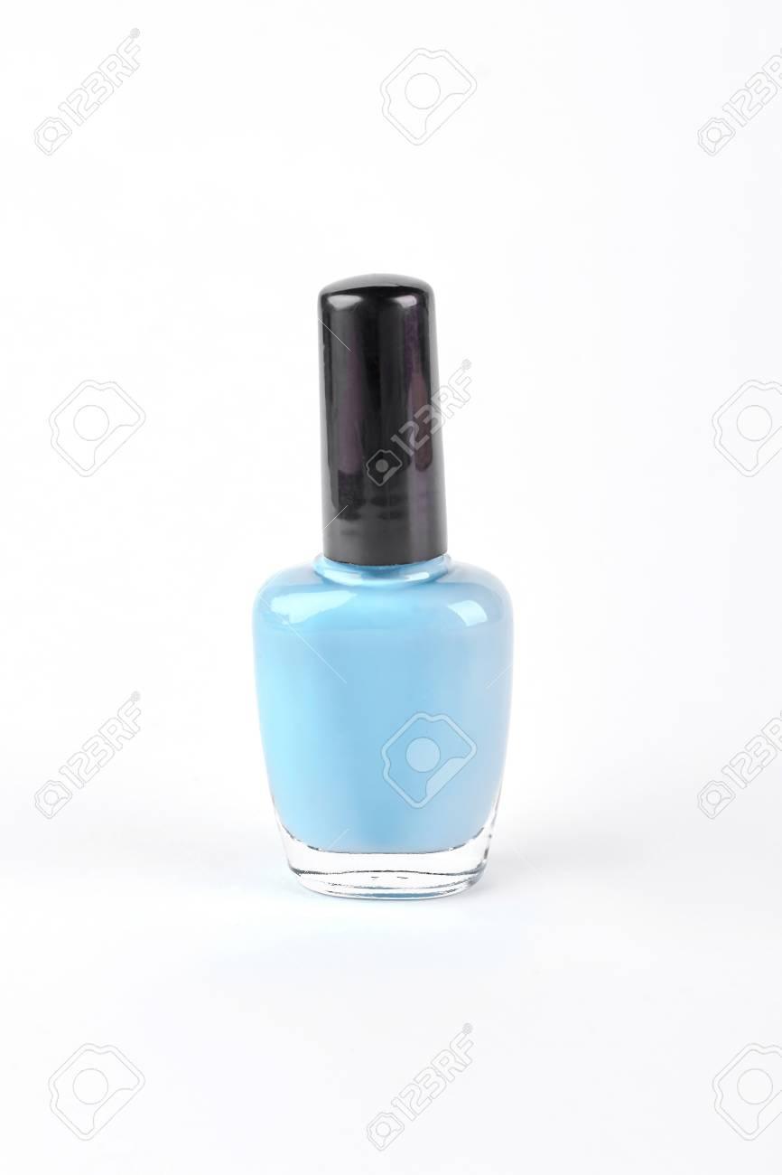 Blue Nail Polish On White Background Light Blue Nail Varnish