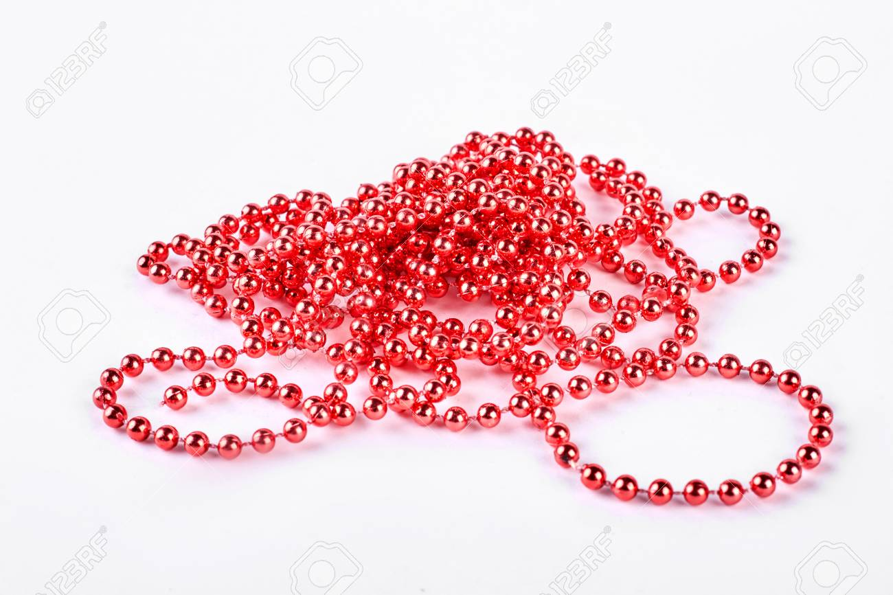 Red Beads Garland On White Background Beautiful Red Beaded Necklace Stock Photo Picture And Royalty Free Image Image 92926941