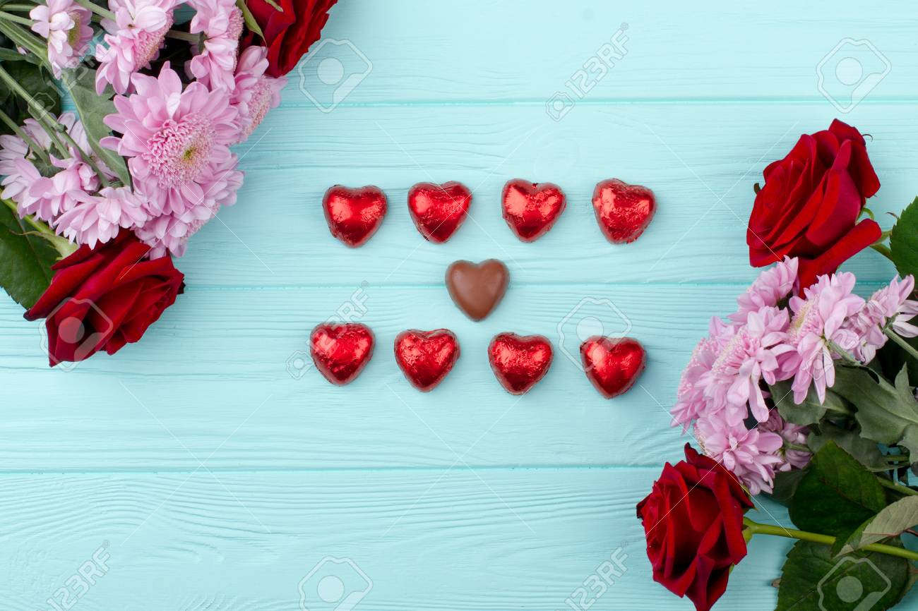 Beautiful Flowers And Heart Shaped Chocolate Valentines Day Stock