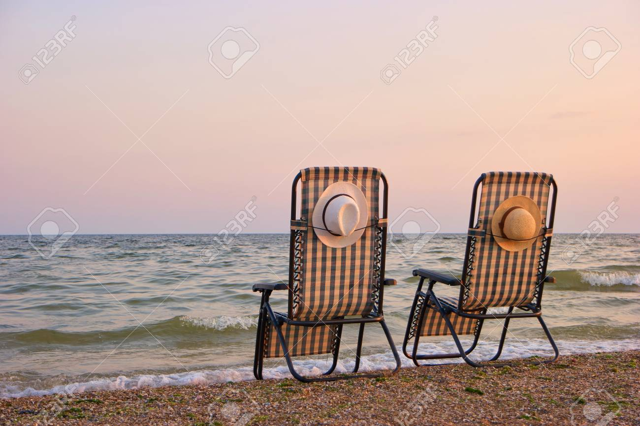 Superieur Deck Chairs On A Beach. Beach Chairs On The Seashore Sand Beach With Clear  Sky