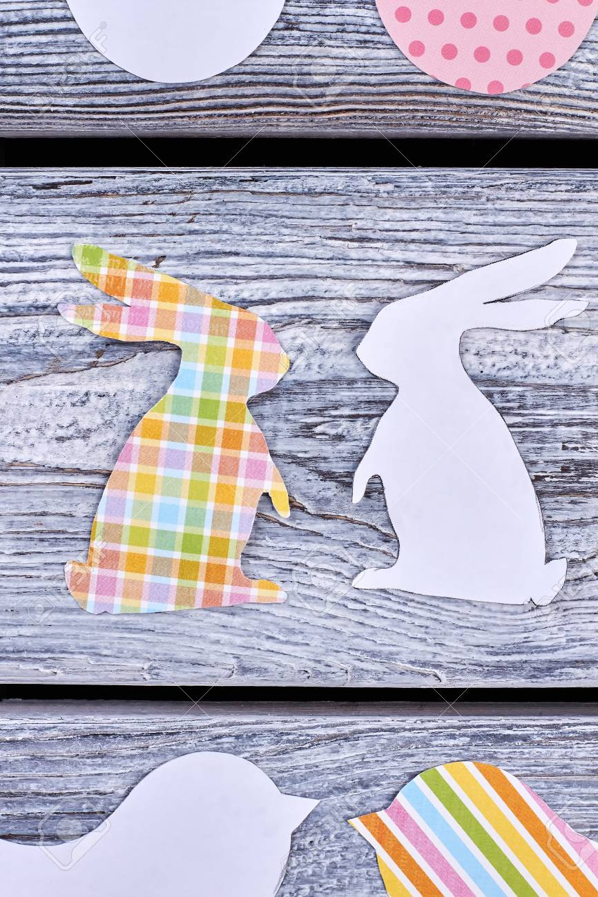 Rabbits Cut From Paper Top View Easter Paper Cutouts On Old