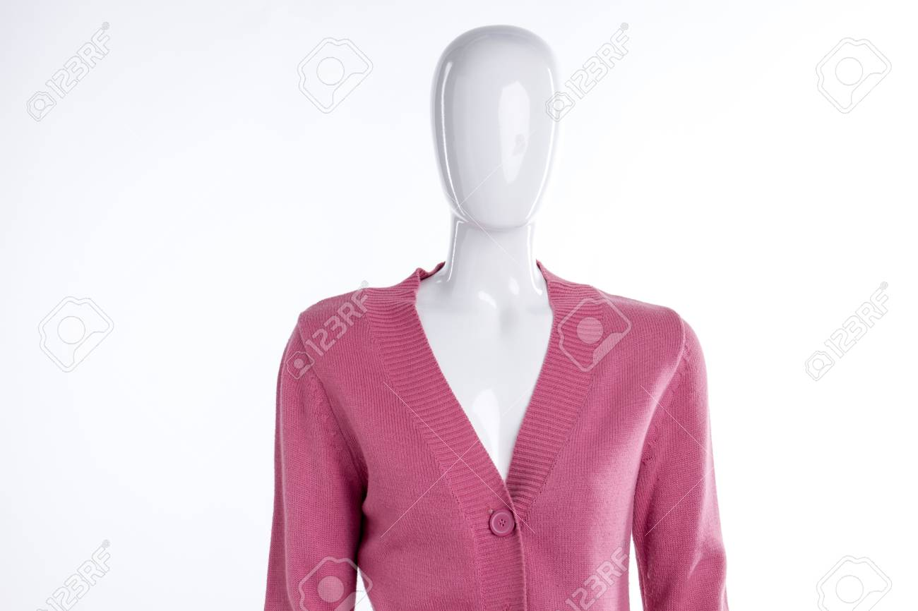 51146a32924f4 Pink warm pullover for women. Female mannequin dressed in casual..