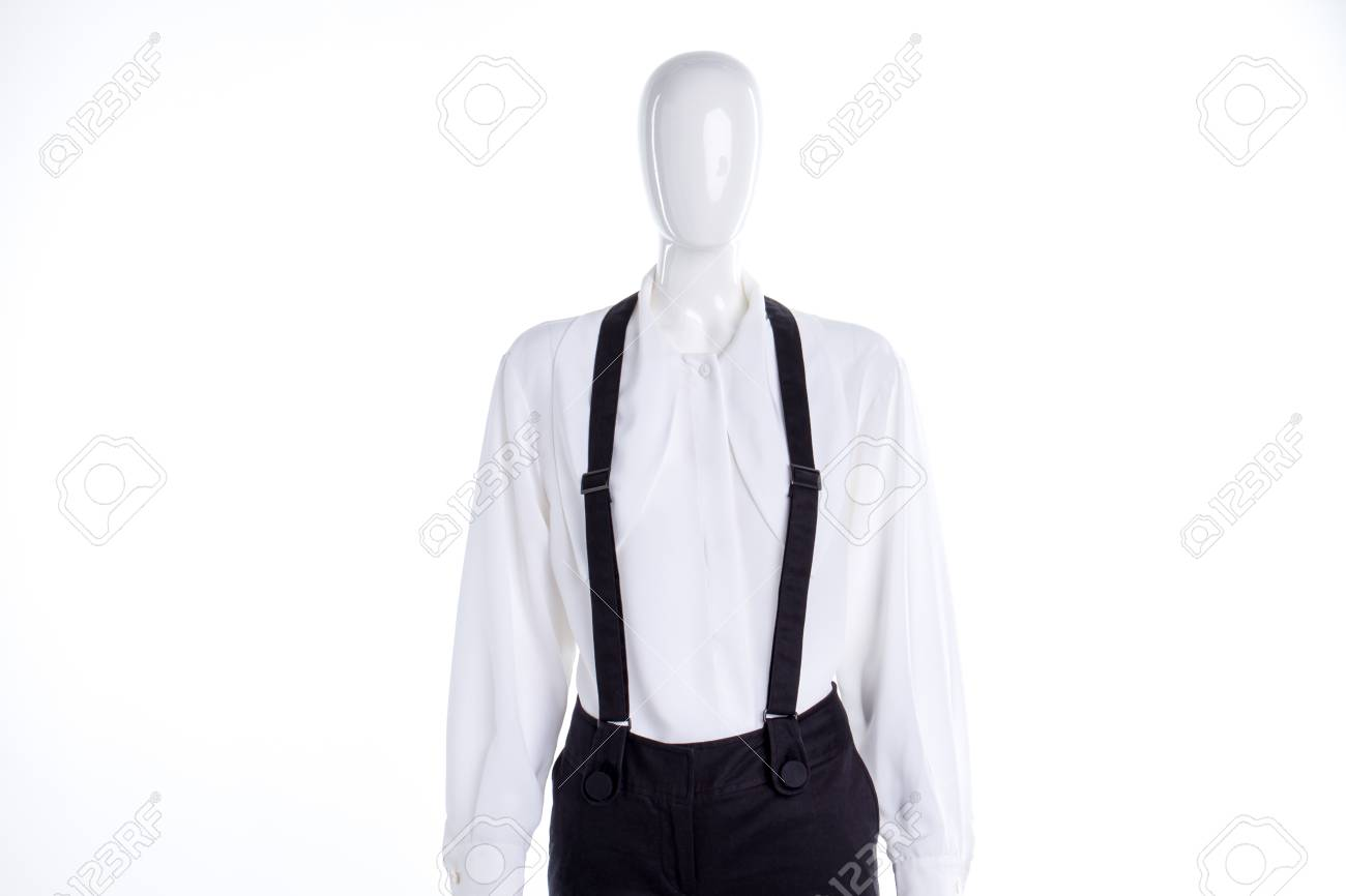 bf7fe8f2f Stock Photo - White elegant blouse and suspenders. Women white classic  shirt and trousers with braces on mannequin. Beautiful attire for women.