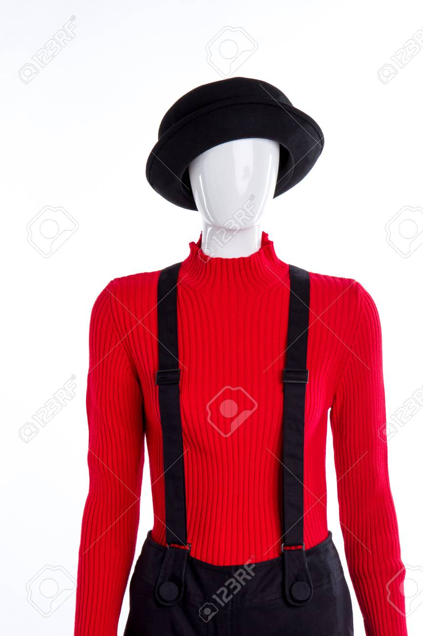 aff0e05f06abe Black hat, red sweater and suspenders. Female mannequin dressed..