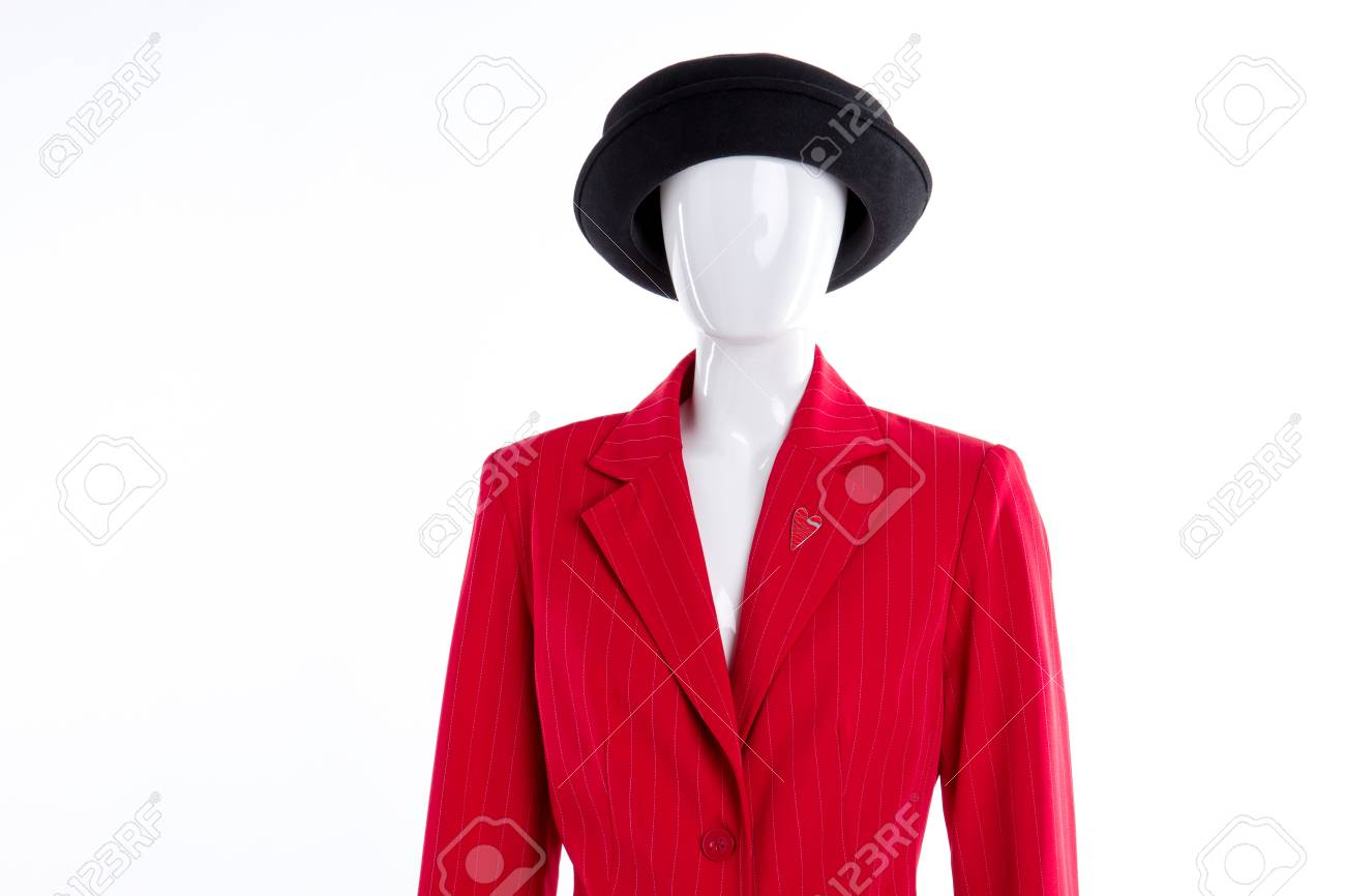 fb520fe08614c Black hat and red blazer for women. Elegant red jacket for ladies...