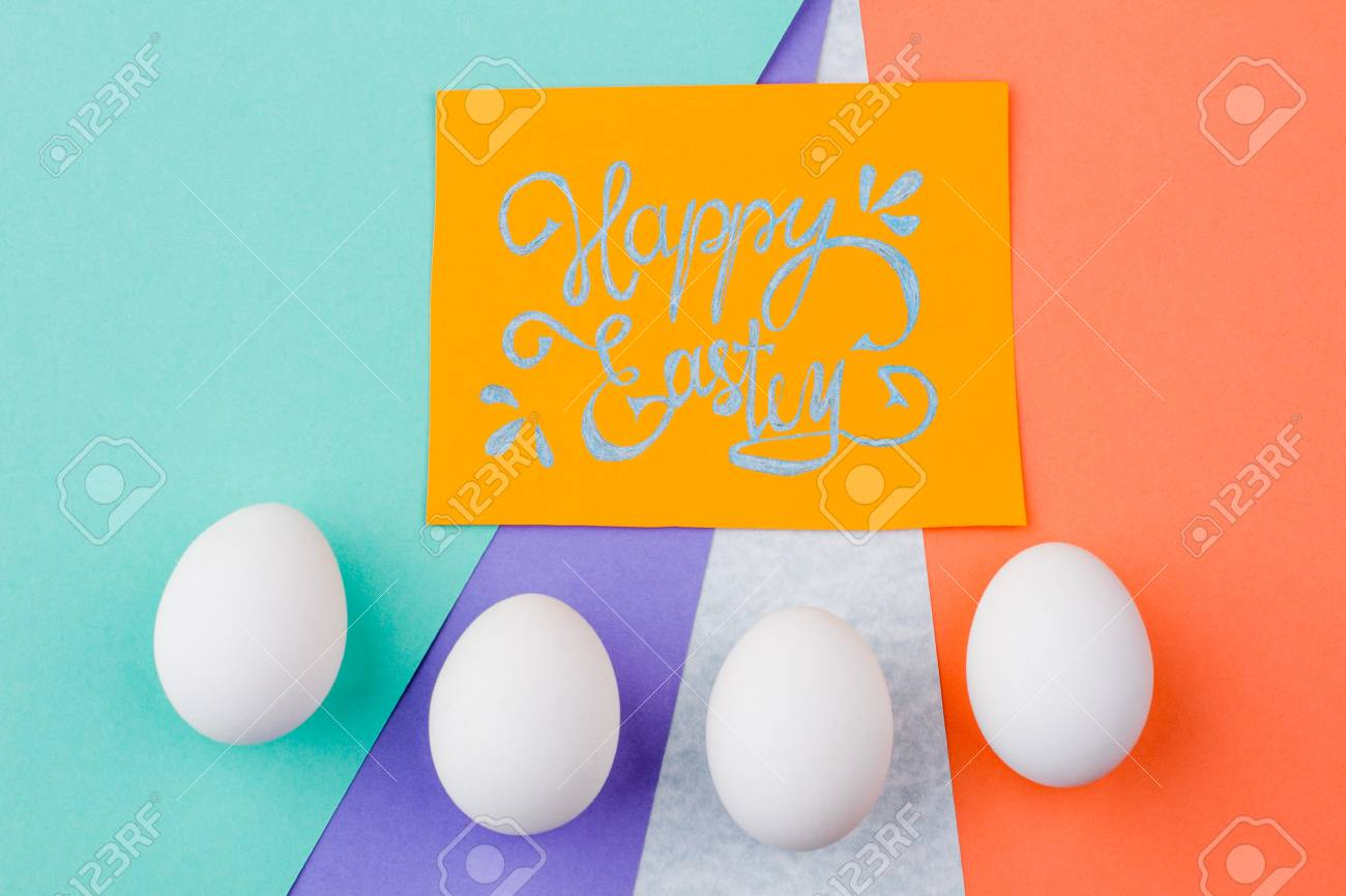 Happy Easter Background With Eggs Yellow Easter Greeting Card