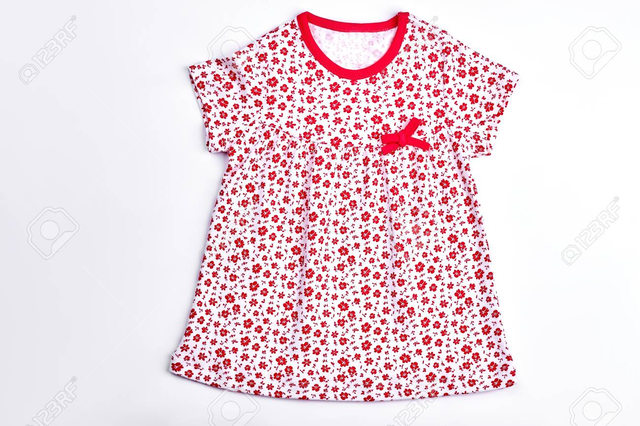 1c76d9bb25 Cotton baby dress for casual wear. Toddler girl short sleeve vintage dress  isolated on white
