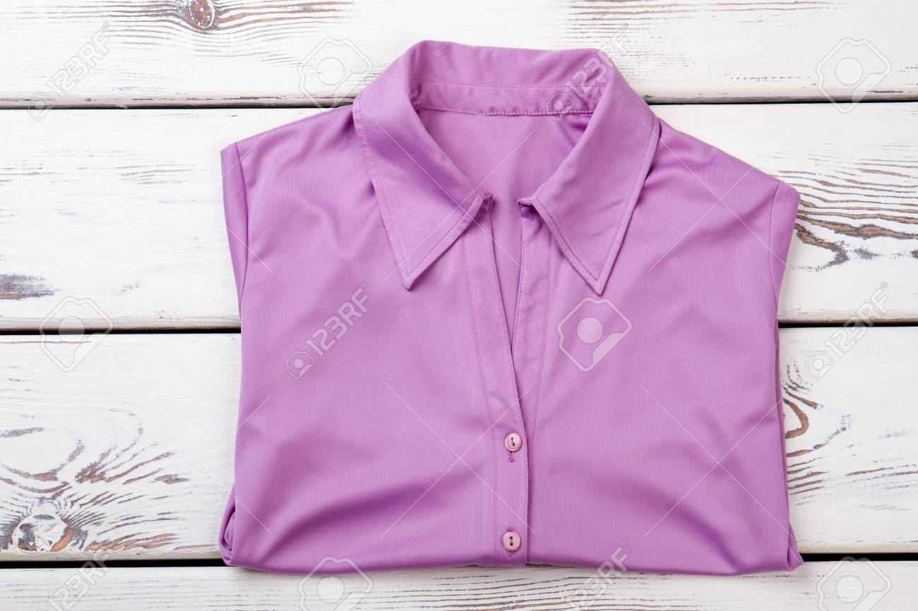 Female Purple Color Buttoned Shirt Women Formal Blouse Folded