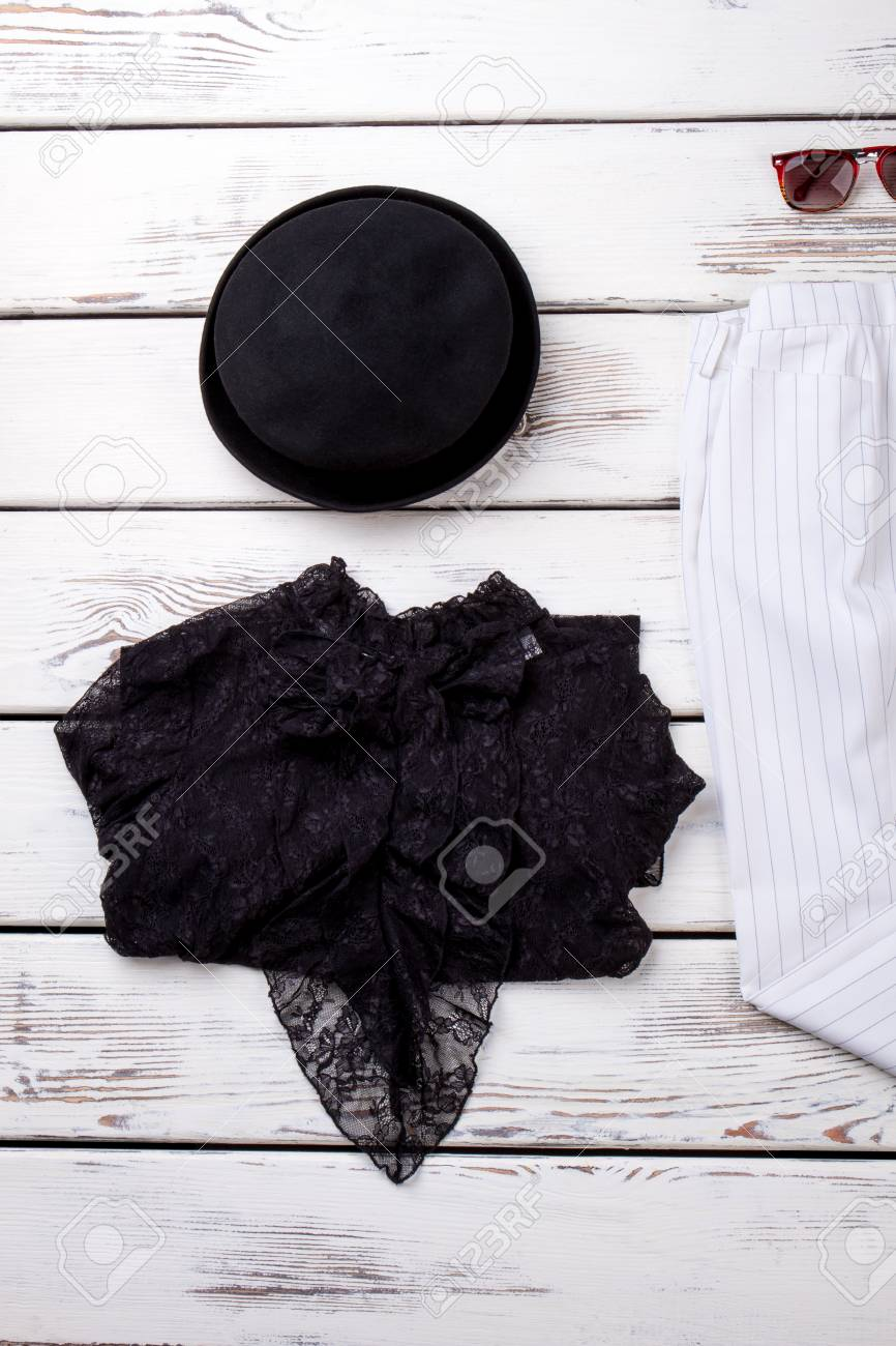 Female Black Hat And Lace Blouse Flat Lay Women Clothes And