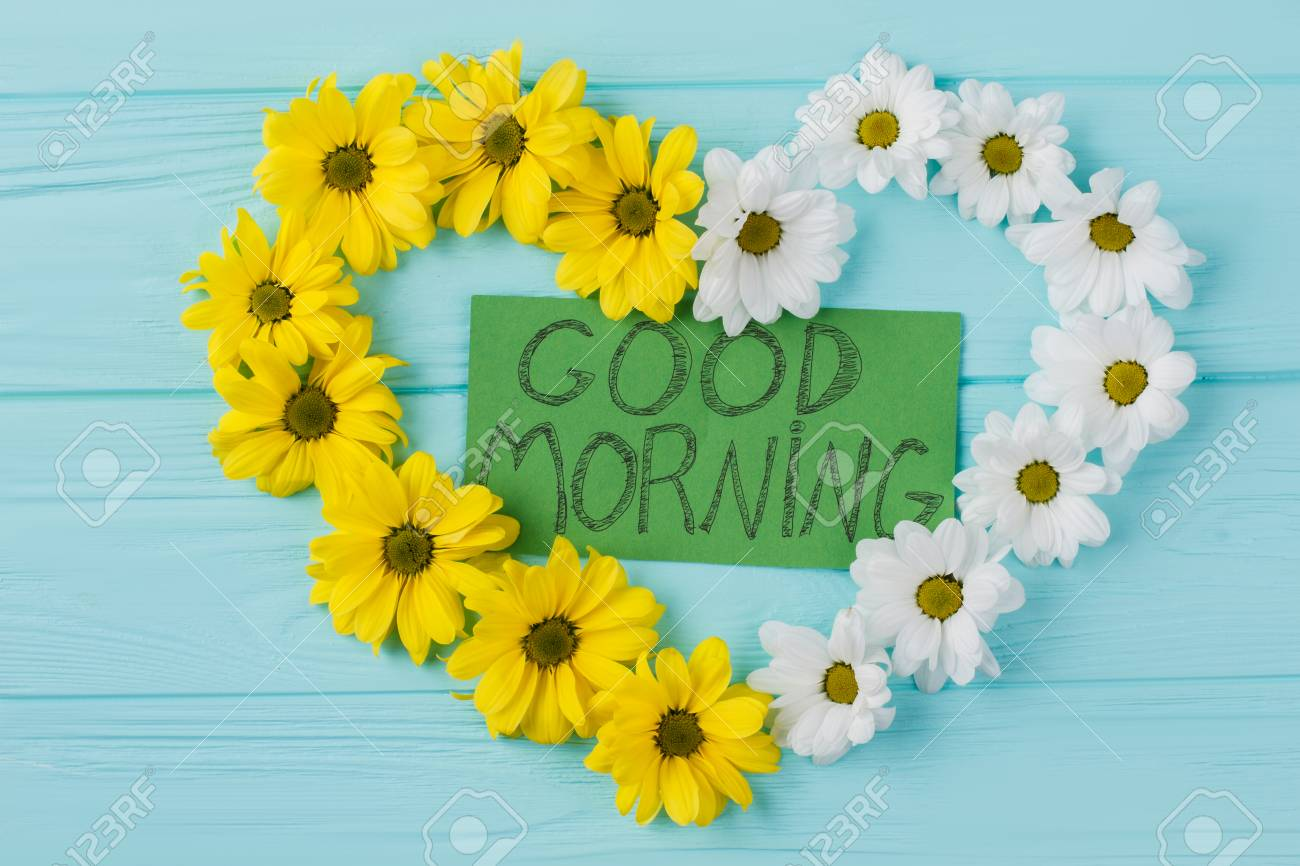 Yellow And White Heart Flowers Composition Good Morning Wish