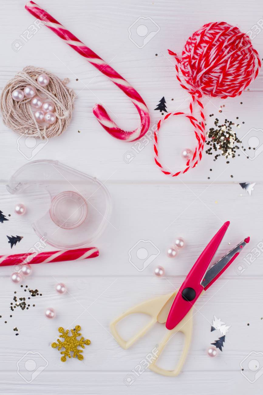 Diy Christmas Decorations Concept Flat Lay Composition Of Tools