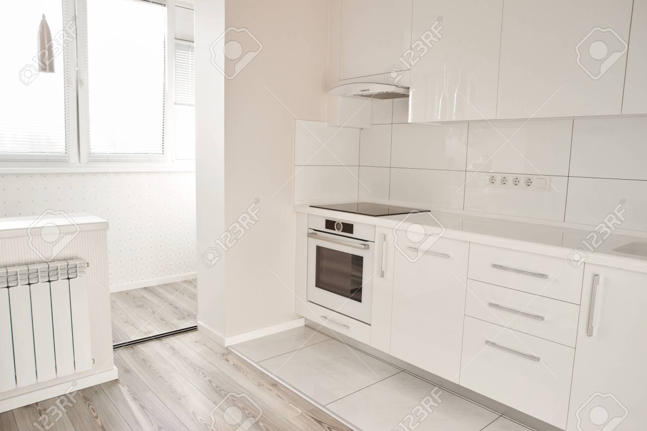 Luxury Modern Kitchen In New Apartment New White Kitchen With Stock Photo Picture And Royalty Free Image Image 115727016