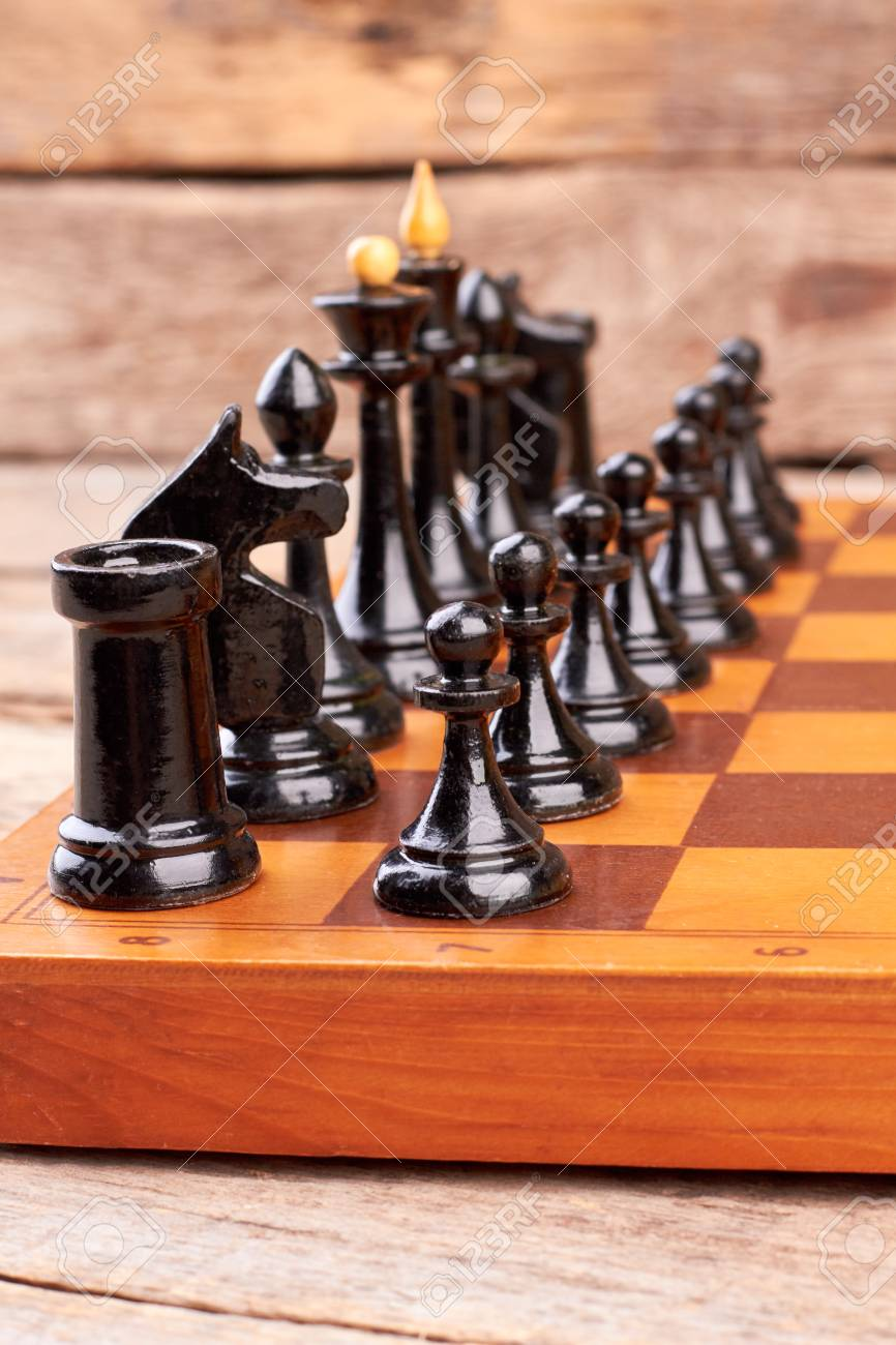 Black Chess Pieces On Board Game Modern Chess Set On Chess Board Stock Photo Picture And Royalty Free Image Image 118562944