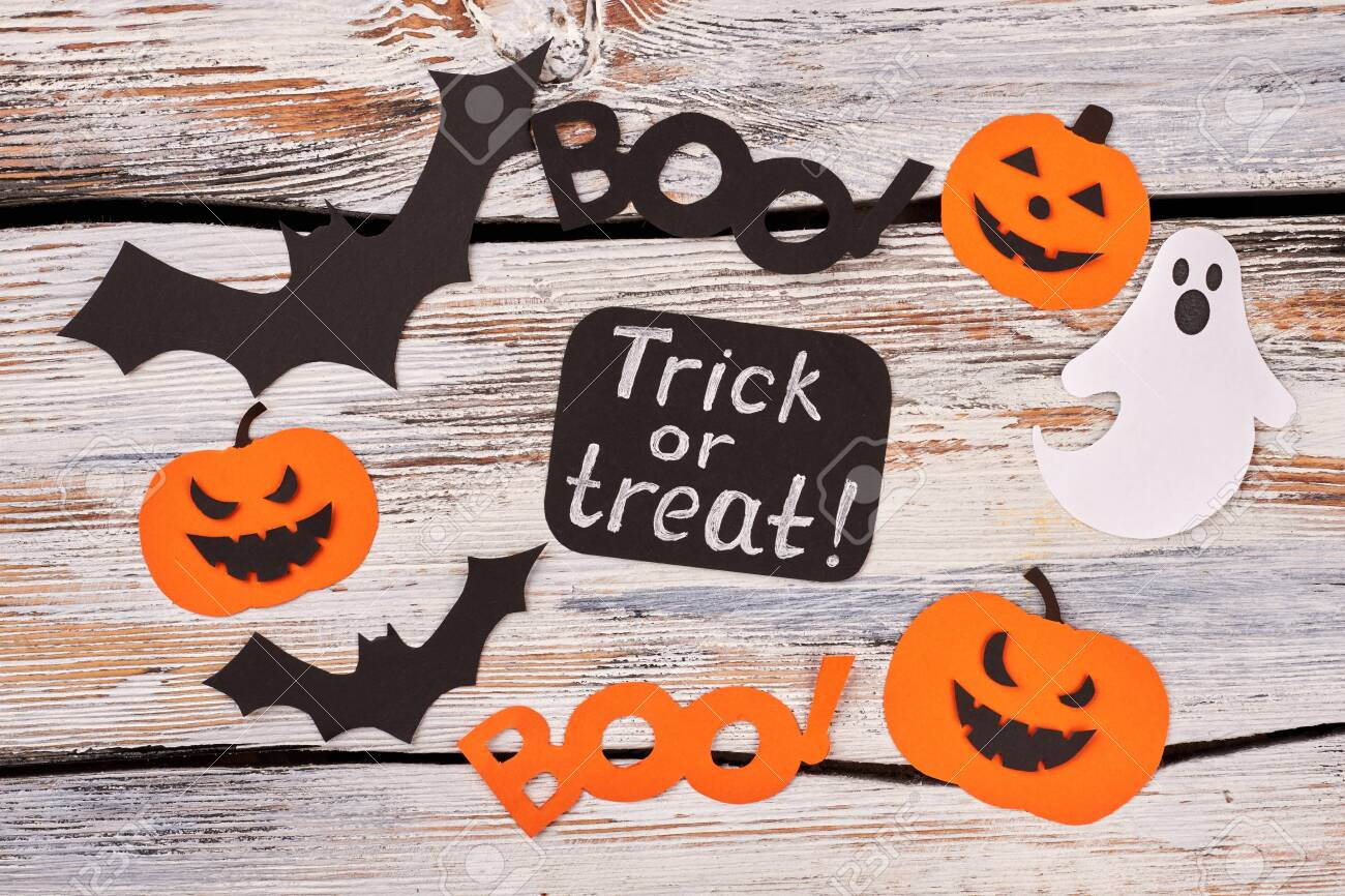 Halloween Decoration Trick Or Treat. Colorful Paper Cutouts For ...