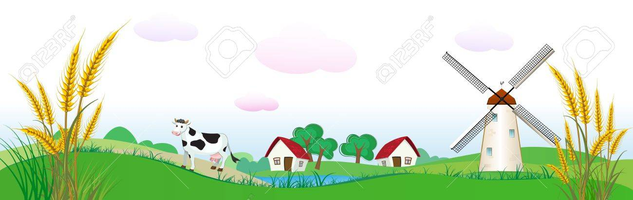 agriculture backdrop with houses, cow and wheat Stock Vector - 12981058