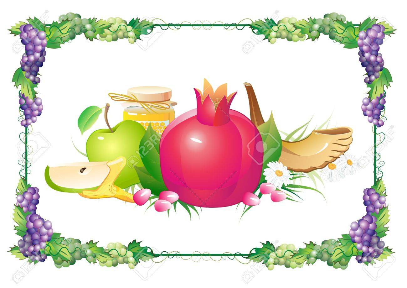 rosh hashana traditional holiday still life, apple, honey and shofar Stock Vector - 14800136