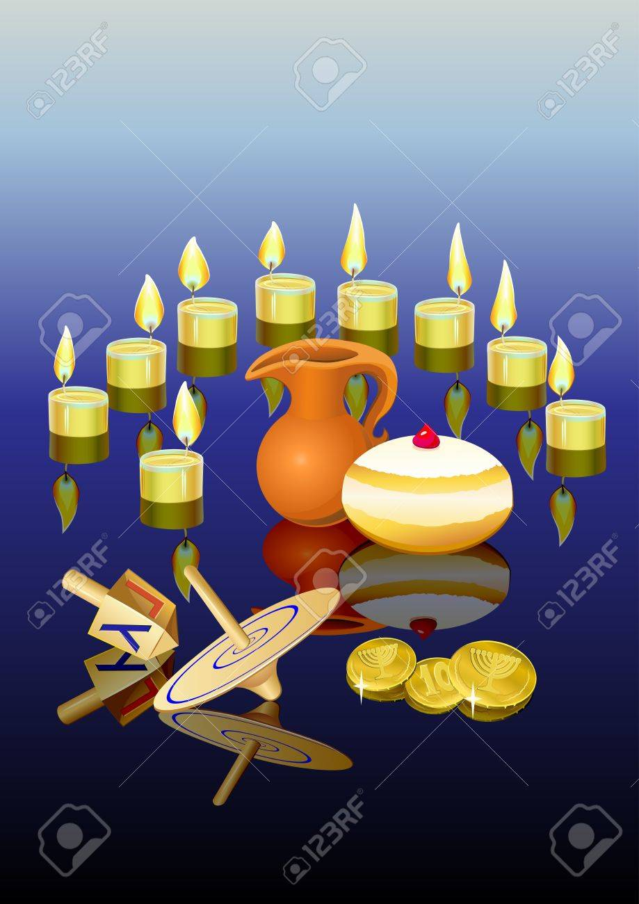 hanukkah background with candles, donuts, oil pitcher and spinning top Stock Vector - 15856901