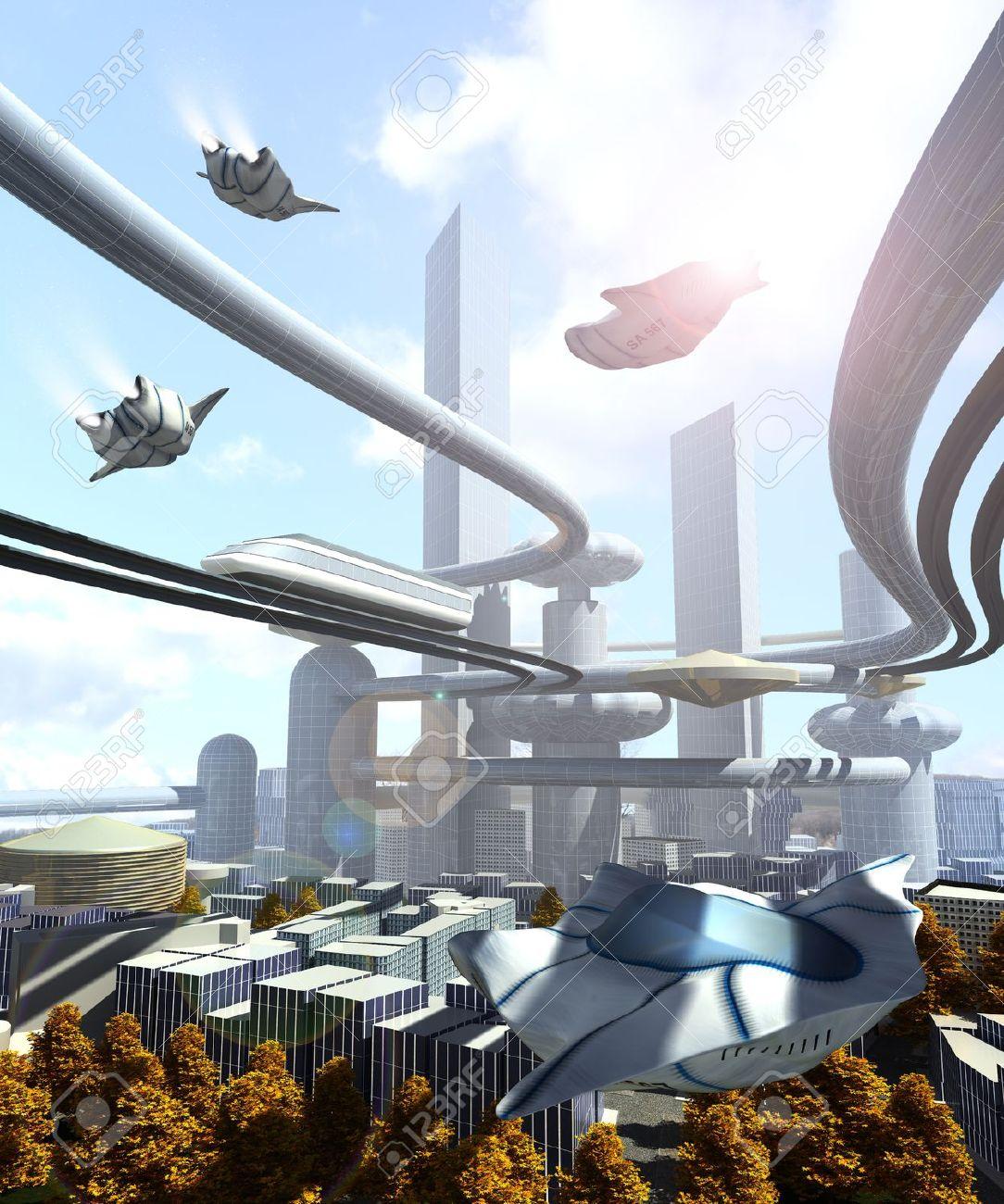aerial view of Futuristic City - 22018857