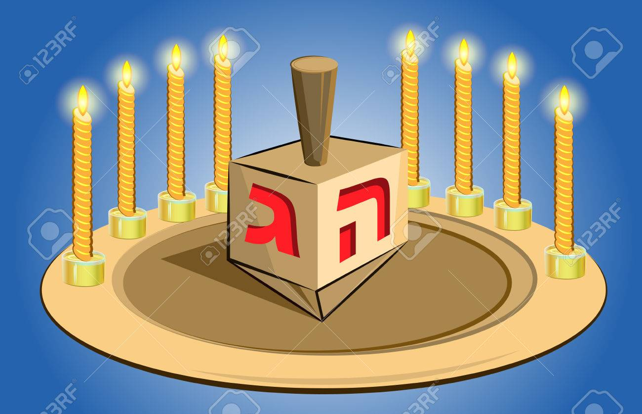 hanukkah candles with traditional donuts Stock Vector - 23305218