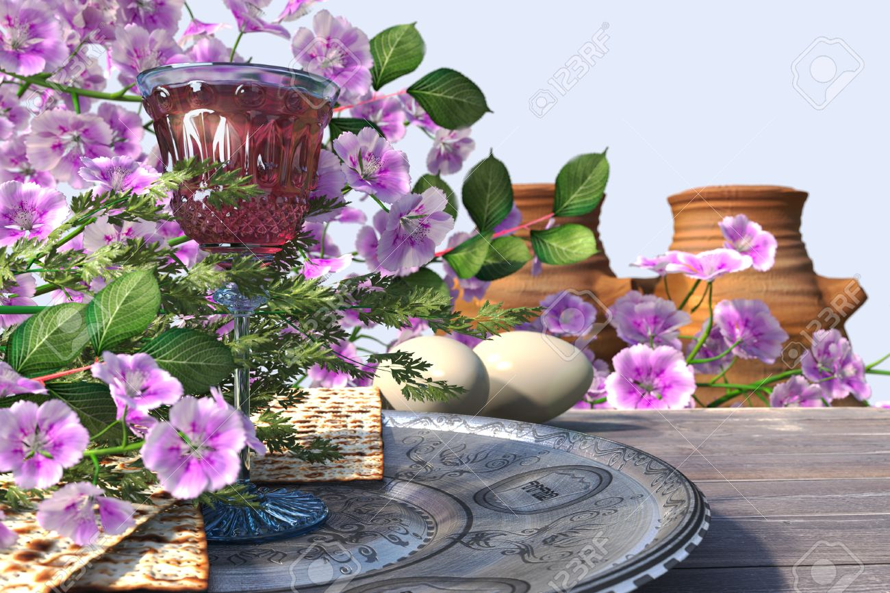 27488034-Jewish-celebrate-pesach-passover-with-eggs-matzo-and-flowers-on-nature-background-Stock-Photo.jpg